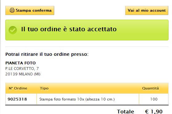 PROMOZIONE FOTO, STAMPA 100 FOTO A SOLO 1,90 EURO