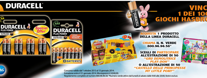 DA ACQUA&SAPONE VINCI CASTELLO LITTLE PONY E GRU PLAY DON GRAZIE A DURACELL