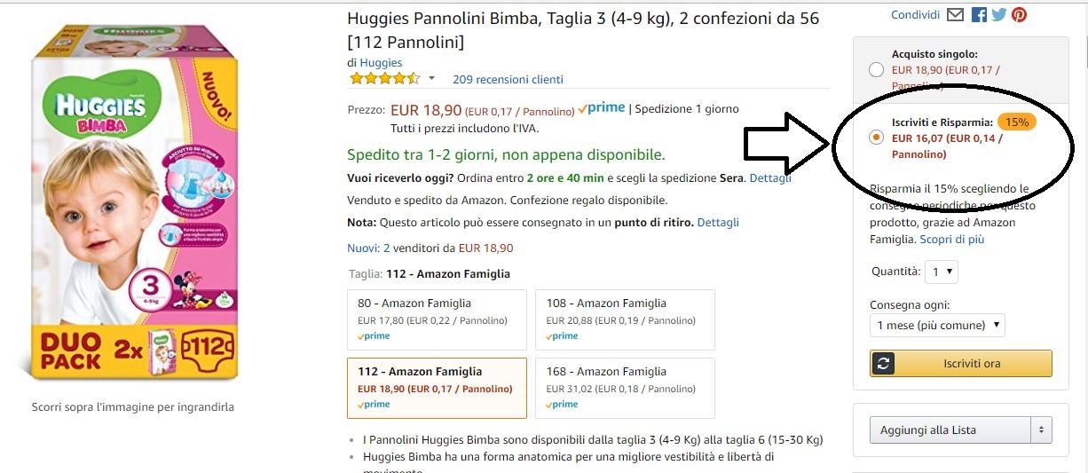pannolini online in offerta su amazon
